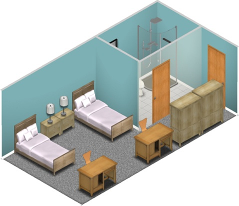 Typical dorm room layout dorm room layouts wheeling for Room layout builder