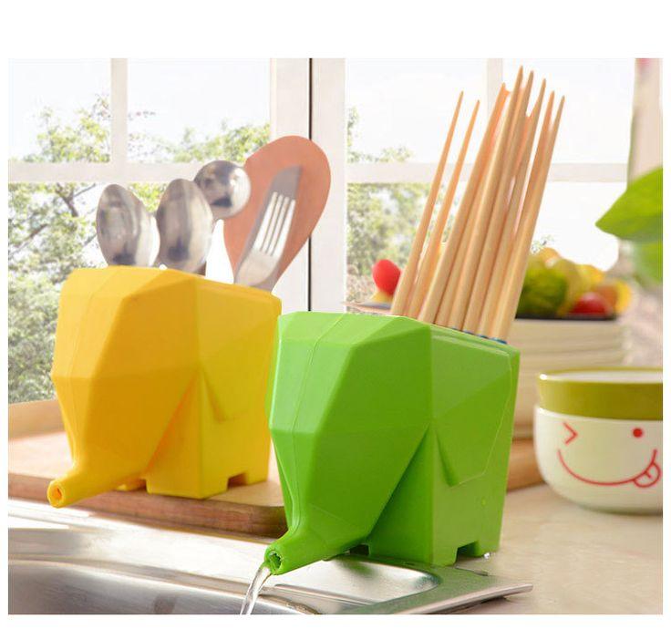 1 PC 3 en 1 éléphant égouttoir cuisine fournitures en plastique baguettes cage baguettes tube de drainage couverts boîte de rangement titulaire KX 010