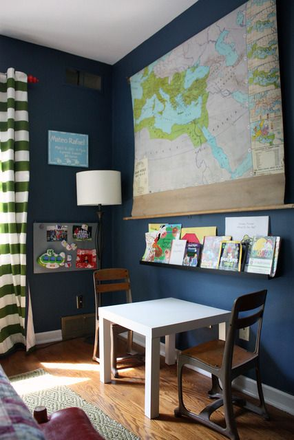 scroll map, horizontal striped curtains, great wall color, vintage school chairs