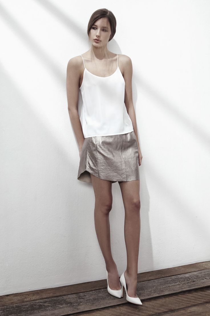 GHOST TOWN SILK SPAGHETTI STRAP TOP IN BRIGHT WHITE, SHUT UP LEATHER SKIRT IN GOLD. www.fallwinterspringsummer.com