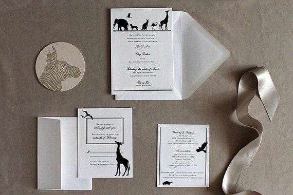 Elegant Zoo wedding invitation  silhouettes by LightheartPaperCo modern black and white animals.  Customize with your pet!