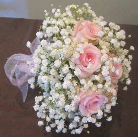 Pink rose and gyp handtied bouquet