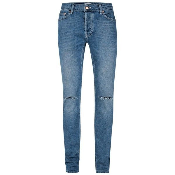 TOPMAN Mid Wash Blue Ripped Stretch Skinny Jeans ($49) ❤ liked on Polyvore featuring men's fashion, men's clothing, men's jeans, blue, mens stretchy jeans, mens destroyed jeans, mens stretch jeans, mens stretch skinny jeans and mens super skinny stretch jeans