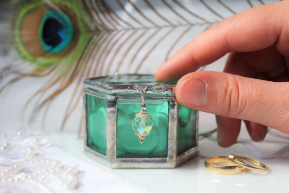 Emerald green wedding ring box Glamorous wedding ring holder