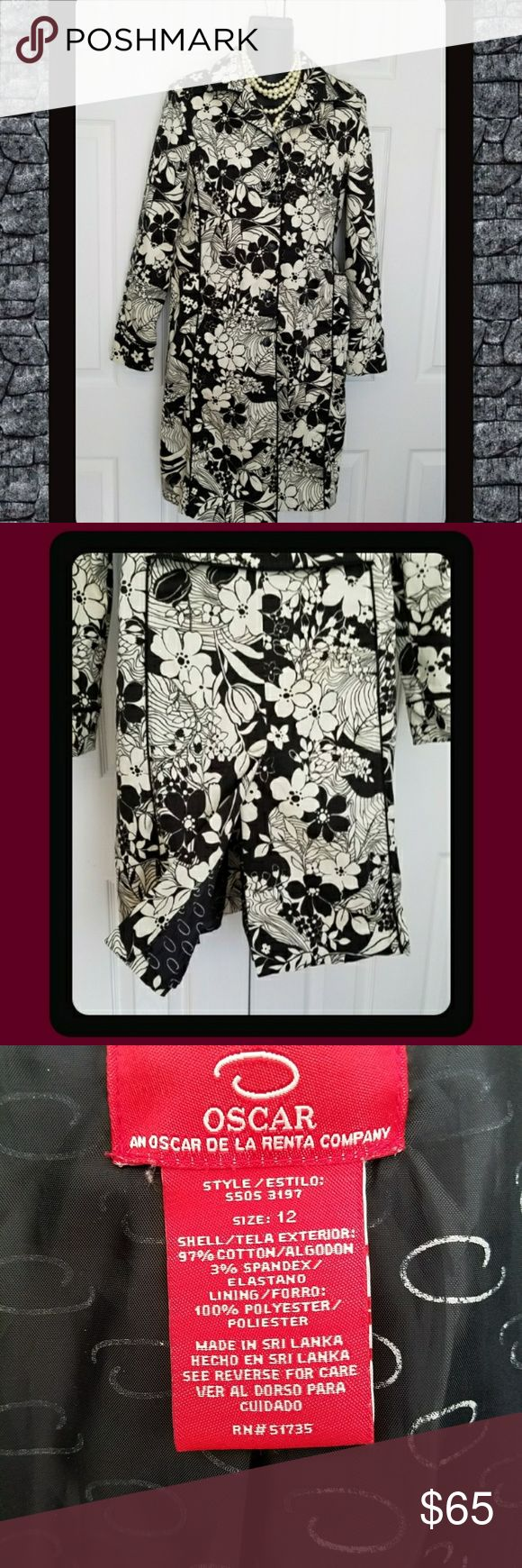 """VINTAGE OSCAR DE LA RENTA VINTAGE  OSCAR DEL LA RENTA  GENUINE 70'S BLACK AND OFF WHITE FLORAL PRINT LONG LENGTHJACKET   Features beautiful black piping detail along the seams, pockets and arms  Full button front, back belted feature and pleat. Beautiful detailed cuffs. Padded Shoulders Fully lined with signature OSCAR logo Lovingly worn for many years  Lining has some sign of wear  No holes or rips Length 37 Bust Span 20"""" Size 12   Shell 97% polyester 3%  Lining100% polyester DRY CLEAN ONLY…"""