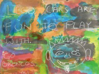 OUDERAVONDIDEE:  Ouders schrijven boodschap voor hun kinderen met wit krijt op wit papier. De volgende dag schilderen leerlingen daar over met ecoline en zien ze de boodschap van hun ouders.