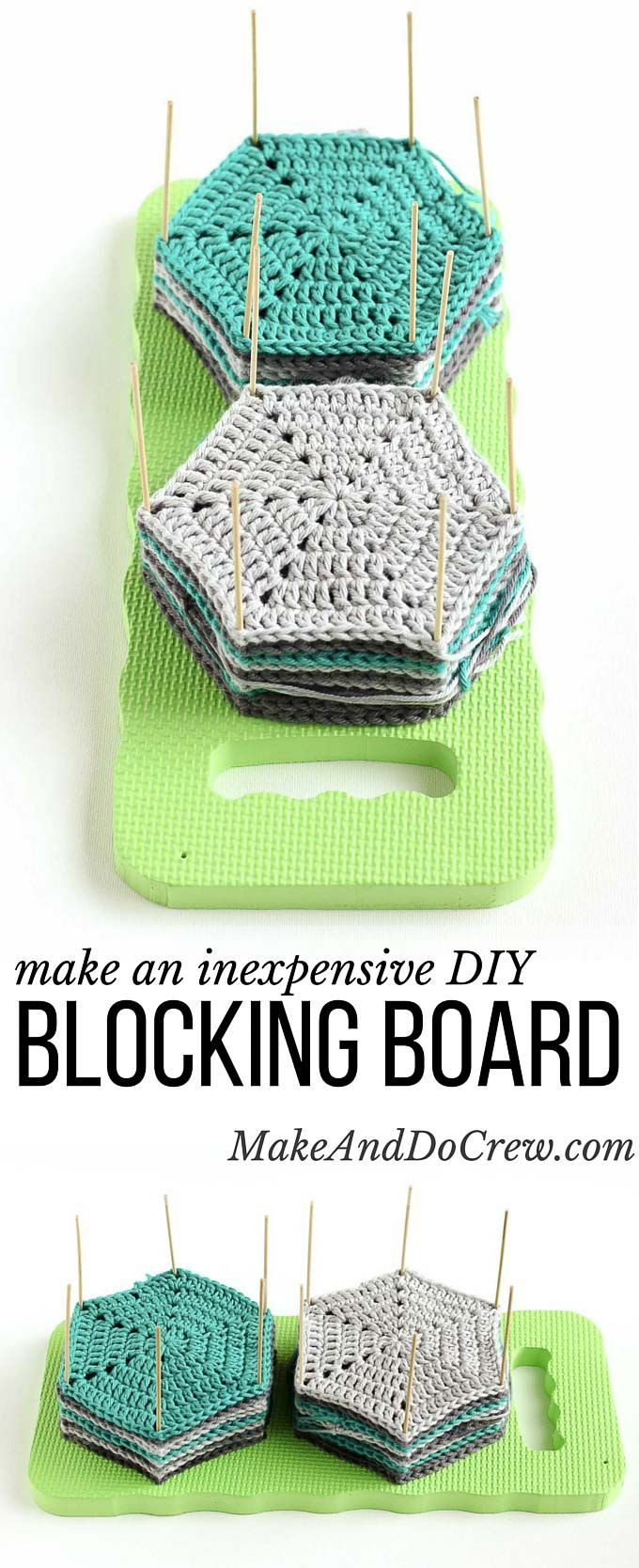 Learn how to block crochet or knit hexagons or granny squares with this incredibly easy and inexpensive DIY blocking board (made from a garden kneeling pad!) Click for full tutorial.   http://MakeAndDoCrew.com