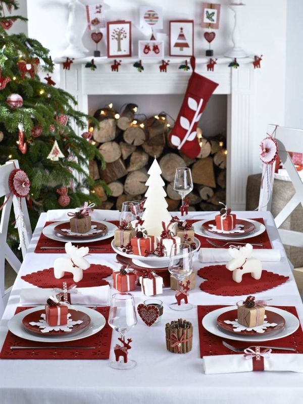 75 moderne weihnachtliche tischdeko vorschl ge f r ein. Black Bedroom Furniture Sets. Home Design Ideas