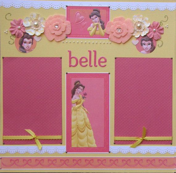 12x12 double page scrapbook layout Disneys Belle via Etsy