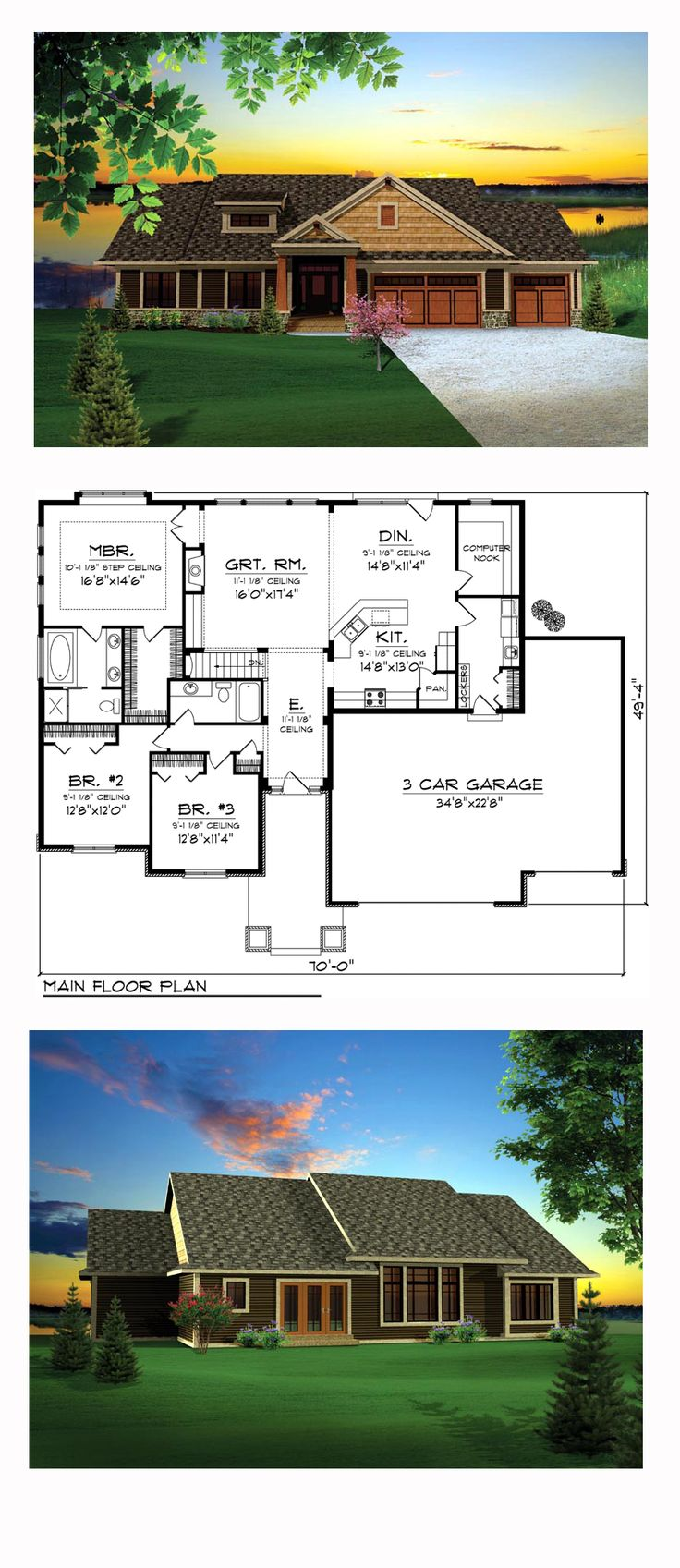 Craftsman House Plan 73140 | Total Living Area: 2032 sq. ft., 3 bedrooms and 2 bathrooms. As you enter the home, you'll be drawn to the main living area by the abundant natural light flowing in through the windows that are found along the entire rear of the home. #craftsmanhome