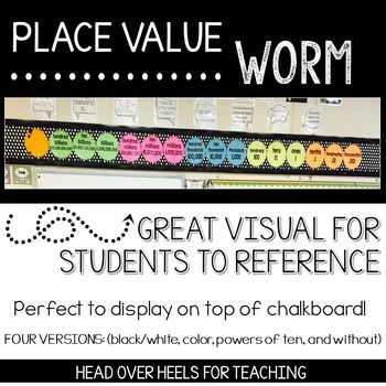 **Updated July 5, 2016. Added powers of ten place value worm bulletin board and student manipulative. This place value worm is decorative and a wonderful resource! A great colorful visual to help students understand the place value of large numbers. Included are both colored and blackline masters, as well as a mini version for students to use as a manipulative.