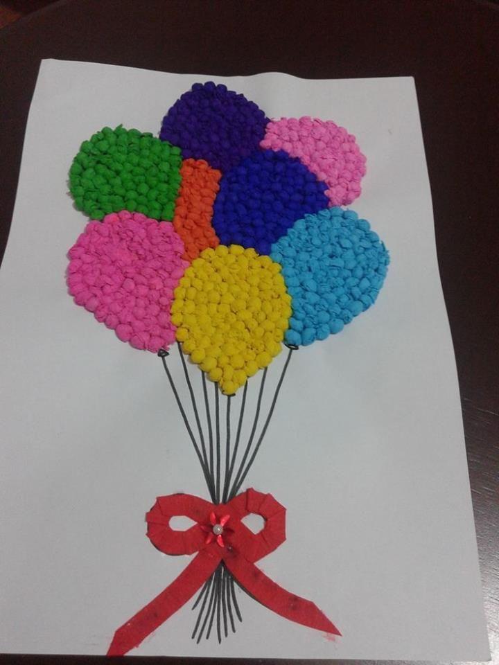 Kağıt yuvarlama tekniği ile balonlar