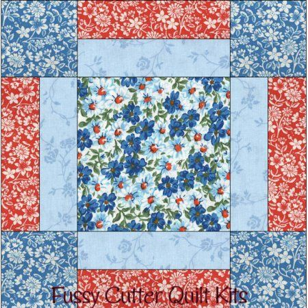 Turquoise Blue Red Flowers Floral Fabric Easy Beginner Pre-Cut Quilt Blocks Kit