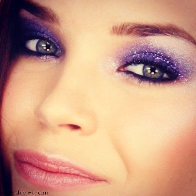 Glittery purple party make-up look