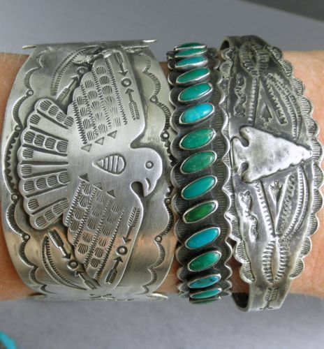 Old Fred Harvey Era Arrows Turquoise Navajo Row Early 30's Cuff Bracelet | eBay