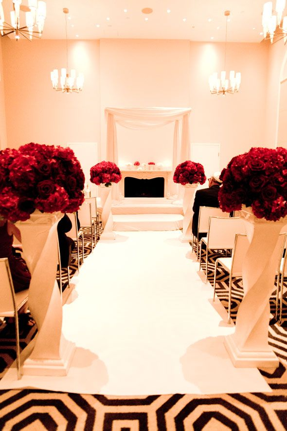 A black, white and red wedding never looked so good! click to see the entire glamorous wedding!Black White Red Wedding Decor, Aisle Runners, White Wedding, Ceremonies Flower, Black And White, W Hotels, Glamorous Wedding, Red Rose, Black White And Red Wedding