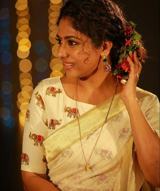 Poornima indrajith in her onam collection 'aanachandham'.#pranaah