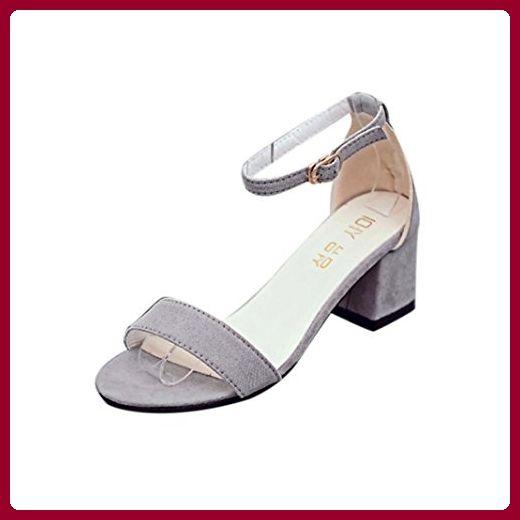 Rcool Damen Single Band Chunky Ferse Sandale mit Knöchelriemen Sommer Sandalen Schuhe (38, Grau) - Sandalen für frauen (*Partner-Link)