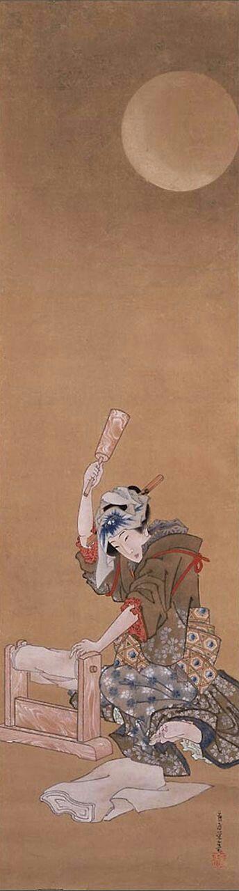KinutaorBeauty Fulling Cloth in the Moonlight(19th century Edo period) by Katsushika Oi