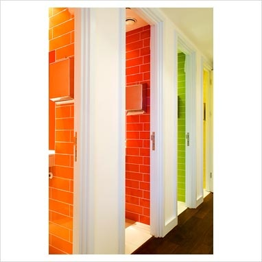 colorful toilet cubicles Antje / Jamie: make sure light coming down on coloured tiles. No?