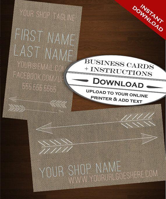 Frecce premade Business Card Design - sparato attraverso il cuore juta nativo americano moderno negozio Etsy Premade Set - testo fai da te t...