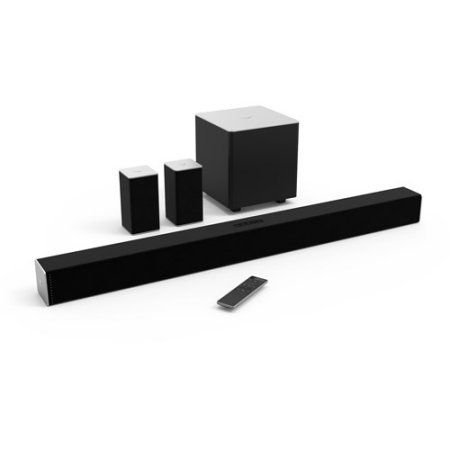 """VIZIO 38"""" 5.1ch Sound Bar System (SB3851-C0), Dolby Digital, DTS Circle Surround, DTS Studio Sound, DTS TruVolume. 38"""" sound bar with left, right and center channels, rear satellite speakers and a wireless subwoofer. VIZIO Sound Bar System produces 100 dB of room-filling, crystal-clear sound Has built-in Bluetooth. Enhances your audio experience Made to fit 42"""" high definition televisions. Immerses you in the middle of the action for watching movies or playing video games Wirelessly…"""