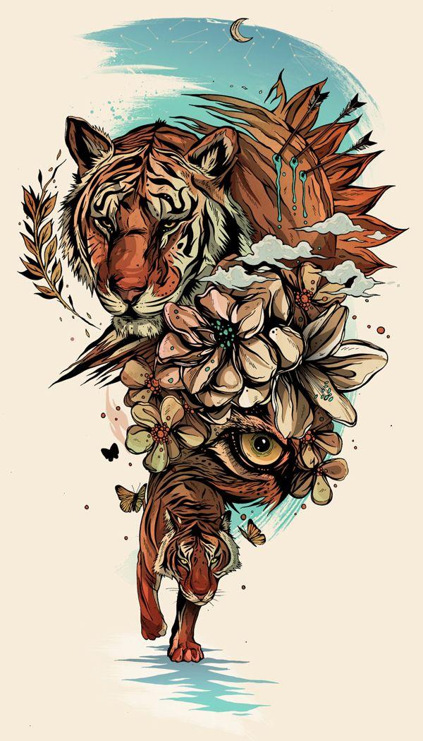 Alexander Wells, via Behance #tiger Would be a cool tattoo.