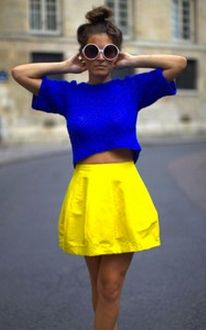 Bright color blocksColors Combos, Fashion, Glasses, Style, Crop Tops, Outfit, Yellow Skirts, Colors Block, Bright Colors