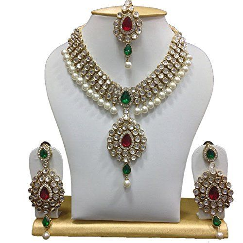 Red & Green Stone Indian Bollywood Gold Plated White Pearls Kundan Jewelry Set VVS Jewellers, http://www.amazon.com/dp/B06Y6CF6S2/ref=cm_sw_r_pi_dp_x_DrkBzbT86SWQP