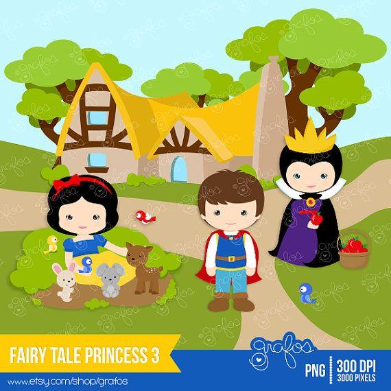 FAIRY TALE PRINCESS 3 Digital Clipart, Princess Clipart  / Instant Download