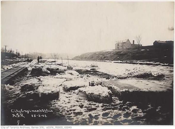 Toronto Winter Photographs – Don river north of Gerrard Street bridge – [189?]