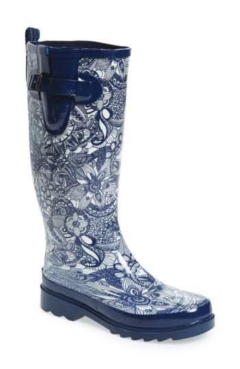 Navy Womens Tall Rubber Boots  Rain Boots, Boots, Rubber -2817