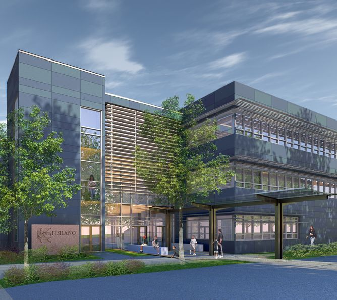 Rendering of Kitsilano Secondary School Renewal project. Our design will provide a 21st century learning environment for 1,500+ students in grades 8 to 12. Learning spaces are designed for formal, informal, collaborative group work.
