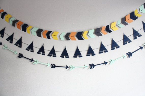 Tribal Garland Set of 3 --- Tribal Banners--- Arrow Banners --- POW WOW--- TeePee Banner -- Aztec Garlands--- Tribal Party Decor