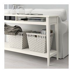 IKEA - LIATORP, Console table, white/glass, , Can be placed behind a sofa, along a wall, or be used as a room divider.