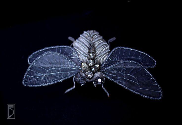 Купить брошь f l y - серебряный, насекомое, муха, мушка, крылья, украшение, брошь
