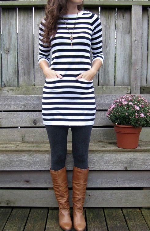 For fallFall Style, Black And White, Fall Looks, Fall Winte, Fall Outfit, Brown Boots, Black Tights, Stripes Dresses, My Style