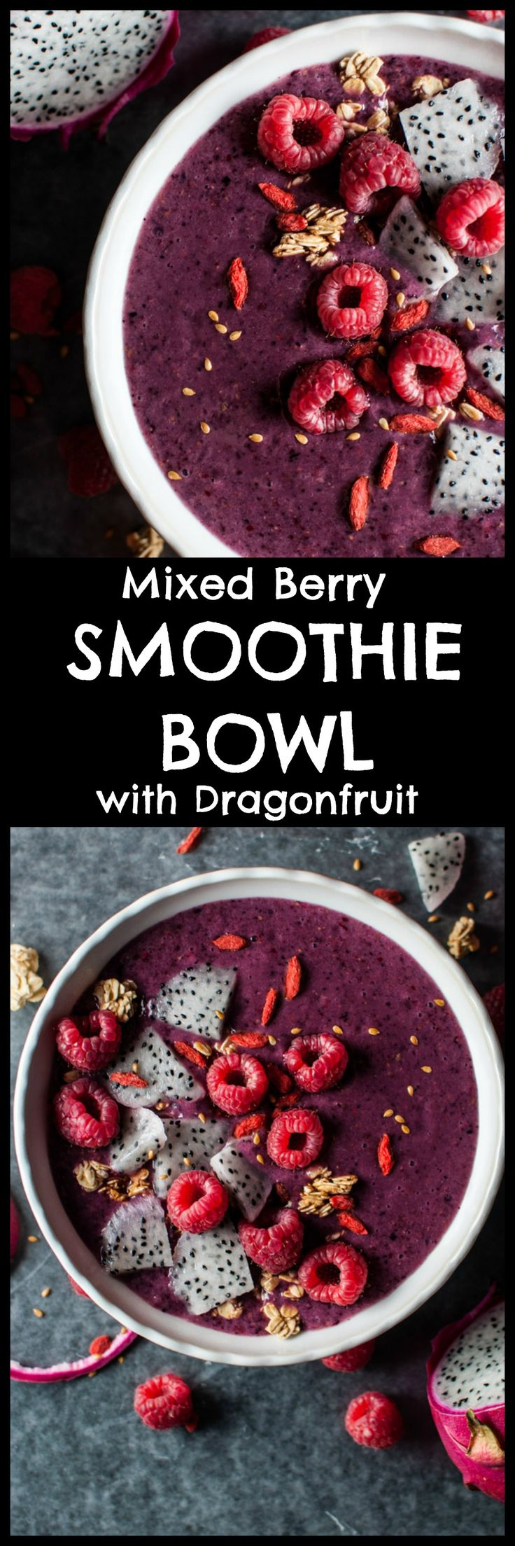 This mixed berry smoothie bowl with dragon fruit comes together quickly and is filling, tasty, and loaded with antioxidants. Perfect for breakfast or anytime you're craving a healthy meal. Pin for later :)
