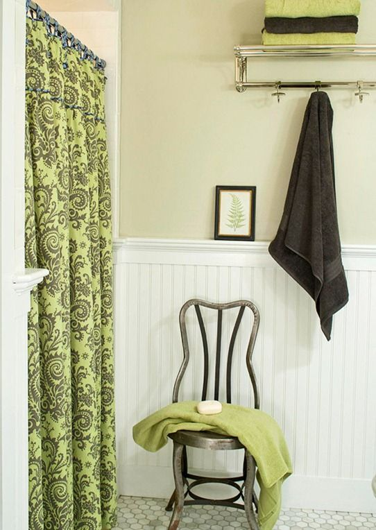 I want this shower curtain!!! - oh yeah, and the wainscoting wallpaper is really cool too...