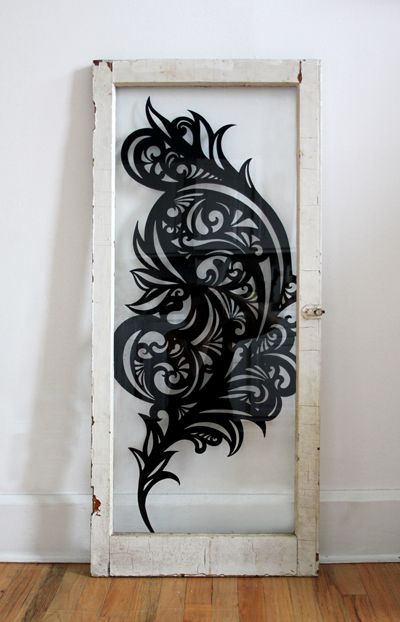 'Blaze' Freehand painting on salvaged glass window