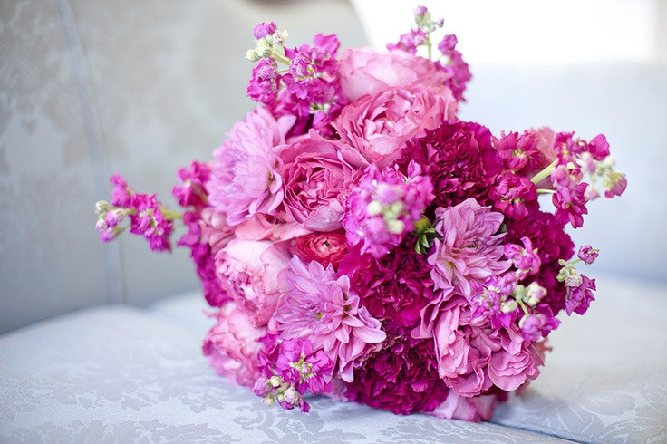 Hot pinks and fuchsia bouquet ~ Photography by ericboneskephotog...