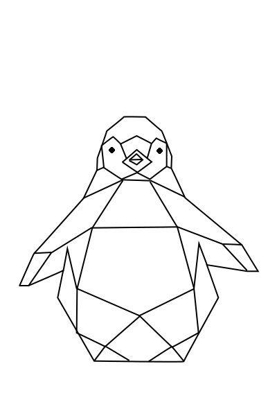 Pingouin origami pour une déco murale en masking tape