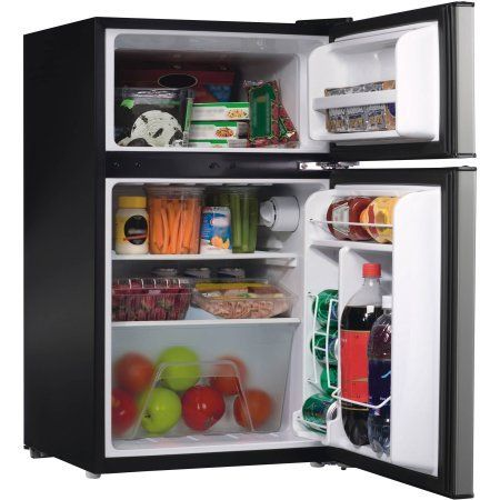 "2 Door Stainless Steel Dorm Size Refrigerator  3.1 cu ft refrigerator  2 door with true freezer door  Adjustable thermostat control  Dimensions: 19""W x 21""D x 33""H"
