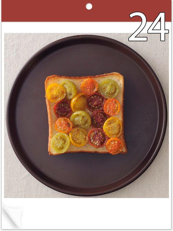 6月24日 「トマトいっぱいトースト」 【使った材料】多種類のトマト、オリーブオイル、塩