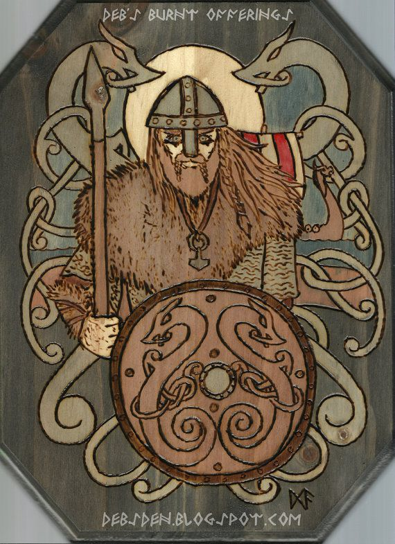 Viking warrior Plaque Pyrography by debsburntofferings on Etsy