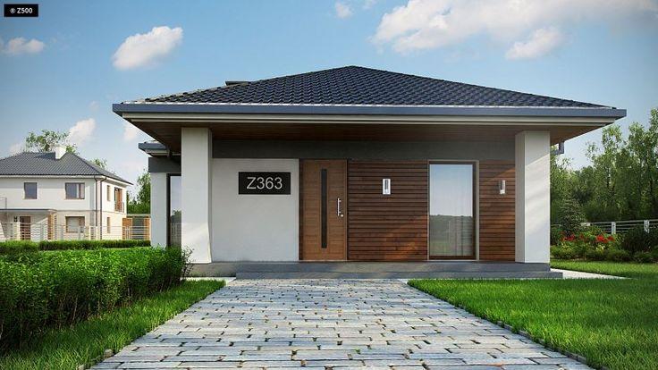 Projekt domu wykreowany specjalnie z myślą o wąskiej działce do szerokości 16m. Elewacja budynku została wykonana z dozą prostoty i minimalizmu, o czym świadczy ozdobne połączenie białego tynku i drewna. Architekci, dzięki odpowiedniemu rozplanowaniu układu funkcjonalnego rozmieścili w budynku część dzienną i nocną domu.