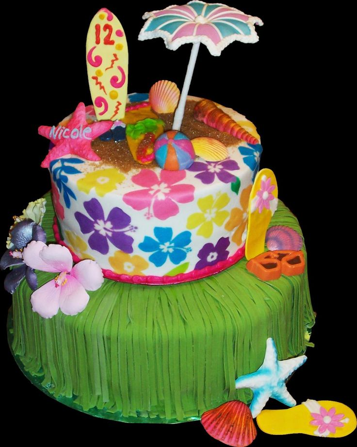 Aloha Hawaii Birthday Cake. Green and white buttercream iced, round 2 tiers decorated with starfish, tropical flowers, flipflops, sunglasses, surfboard, umbrella, seashells, sand and a grass skirt. Everything on this cake is edible. (Serves 28-55 party slices.)