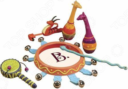 B Dot «Мелодия джунглей»  — 4634р. ----------------------------- Набор игрушек-погремушек B Dot Мелодия джунглей познакомит малыша с огромным миром музыки. Игрушки из набора красиво стилизованы под различных животных: два ручных маракаса сделаны под жирафов, свисток под антилопу, А барабанная палочка выглядит как милая змея. В наборе также есть небольшой бубен с колокольчиками и маленький ручной барабан. В комплекте с набором идет сумка для хранения и переноски в места для игр. Игры с этим…