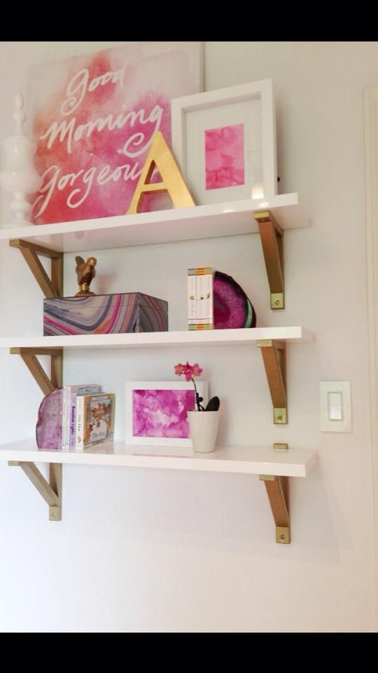 Beautiful Mix Of White And Gold Shelves With Fuchsia Accents   #nursery  {Nicole From