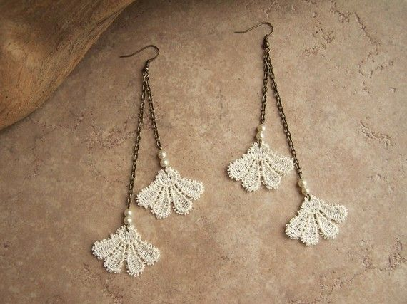 Honeysuckle lace dangle earrings ivory by StitchFromTheHeart